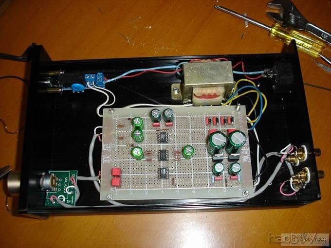 """用仿""""mbl6010(ne5534)""""机箱,做自己的 ne5534单运放10倍前级放大电路"""