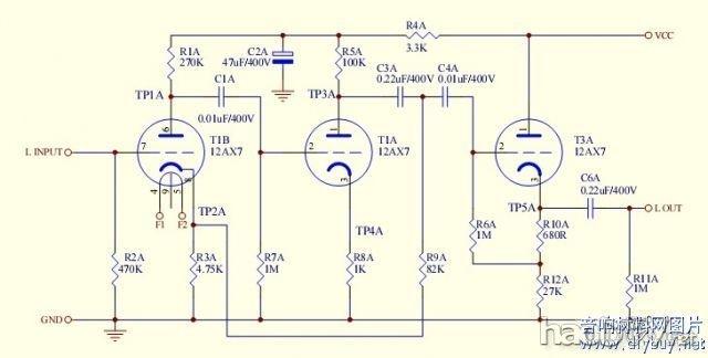 diy制作的马兰士7电子管胆前级附电路线路图(2)